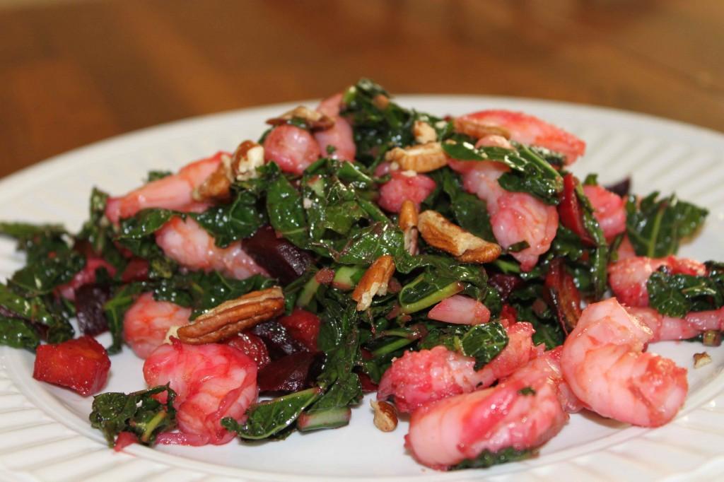 Warm Roasted Beet, Kale & Shrimp Salad