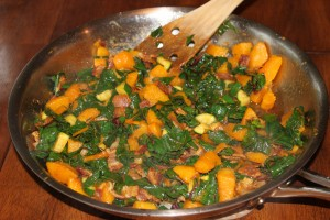 Skillet Butternut Squash and Greens