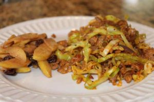 "Sausage N' Cabbage ""Noodles"" with Fried Apples"