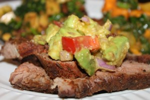 A Dinner Menu: Steak Dry Rub, Avocado Salsa, and Chopped Broccoli Salad