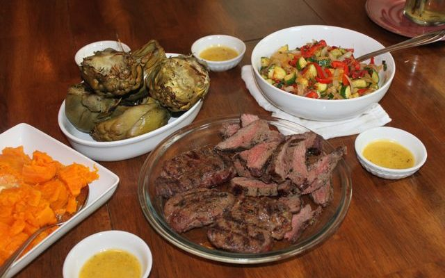 A Complete Dinner: Steak, Veggie Stir Fry, Grilled Artichokes & Garlic Lemon Butter