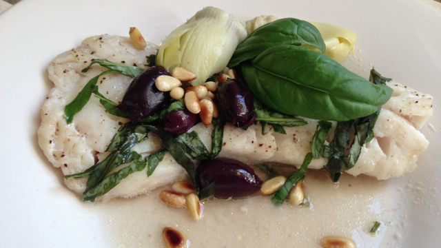 Mediterranean Halibut with Olives and Artichoke Hearts