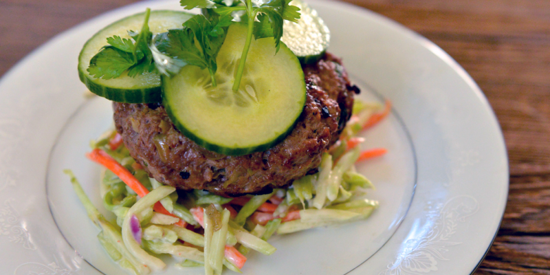 Ginger Garlic Burgers with Sriracha Broccoli Slaw